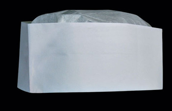 Picture of item 197-102 a Disposable Cap. Low Profile Tissue Paper Crown Cap. Plain white. Adjustable headband. 100/box. ** MUST ORDER IN QTY OF 10 BOXES **