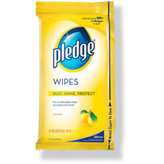 Picture of item 966-414 a Pledge® Wipes. Lemon scent. Can be used to clean leather, marble, stainless steel and more. 24 wipes/packet, 12 packets/cs.