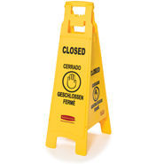 "Picture of item 966-491 a Rubbermaid Floor Sign with Multi-Lingual ""Closed"" Imprint. 4-Sided. Yellow. 38"" L x 12"" W x 37"" H x 16"" Deep."