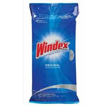 Picture of item 966-492 a Windex Single Use Multi Surface Glass Wipes. Anti static. 28 wipes/pack, 12 packs/cs.