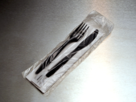 "Picture of item 967-481 a Low Density Silverware Bag. Flat Pack. Flip top closure. 3.5"" x 10"". 0.75 mil. 2000/cs."