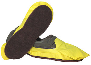 Picture of item 966-428 a Paws Disposable Floor Stripping Shoe Covers. Size Large. Non-abrasive traction pad on sole. 2 pairs.