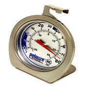 Picture of item 966-557 a Rubbermaid Refrigerator/Freezer Thermometer. Stainless Steel. Shatter resistant. Dual Read Fahrenheit and Celsius.