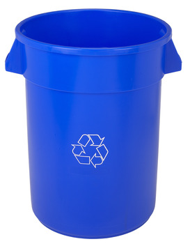 "Huskee™ Round Recycling Receptacle.  20 Gallon.  19-1/2"" Diameter x 22-1/2"" Tall.  Blue Color."