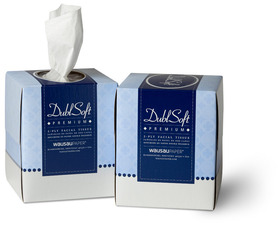 "Picture of item 886-502 a DublSoft® Premium Facial Tissue.  9"" x 8"" Sheet.  85 Sheets/Box.  Cube Box."