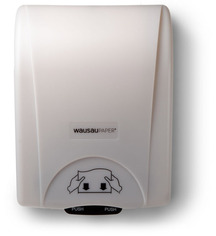 Picture of item 967-242 a OptiServ® Hands Free Roll Towel Dispenser. 12 1/8 X 16 13/16 X 9 13/16 in. White.