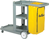 "Picture of item 966-605 a Continental Commercial Standard Janitorial Cart. Grey. 25 gal Yellow Zippered Vinyl Bag. 8"" rear wheels, 3"" non-marking swivel casters. 55 5/8"" x 20.75"" x 38."""