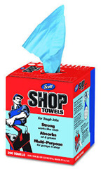"Picture of item 968-839 a SCOTT Shop Towels in a POP-UP* Box. 200 sheets/box, 8 boxes/cs. 10"" x 13"". Blue. Ideal for changing oil, refilling fluids and general automotive maintenance."