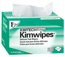 "Picture of item 969-578 a Kimtech Science Kimwipes Delicate Task Wipers. 4.4"" x 8.4"". White. 1 ply. Light duty."