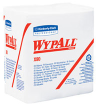 "Picture of item 967-542 a Kimberly Clark Wypall X80 Wipers. 12.5"" x 13."" White. For use with heavy industrial tasks, cleaning grease, grime and oil, solvent wiping, cleaning rough surfaces. 200/cs."