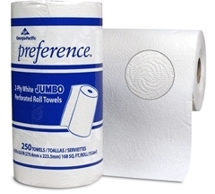 "Preference Jumbo Perforated Roll Towel. White. 2 ply. 11"" x 8"" sheet. 250 sheets/roll, 12 rolls/cs."