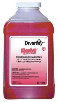 Picture of item P682-503 a Diversey Revive Plus Floor Maintainer. 2.5 liter bottle, 2/cs. Red in color, citrus fragrance.