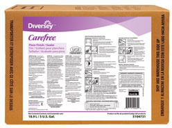 Picture of item 979-354 a Diversey Carefree® Floor Finish/Sealer. 5 gallon Envirobox. Off-white in color with an ammonia scent.