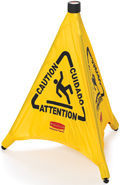 "Picture of item 966-685 a Rubbermaid Pop Up Safety Cone. Yellow. 20"" H x 21"" W x 21"" D. With multilingual ""Caution"" and wet floor symbol. Collapsible, automatically deployed cone."