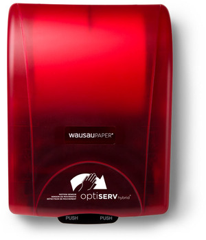 "Picture of item 967-589 a OptiServ Hybrid® Roll Towel Dispenser. Red. Touch free, controlled use. 12 1/8"" x 16 13/16"" x 9 3/16""."