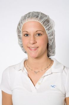 "Picture of item 966-726 a Pleated Bouffant Hair Net. 21"". White. Light polypropylene. Meets FFDCA Requirements for Food Contact. 1000/cs."