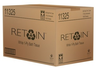 "Picture of item 887-911 a Retain Toilet Tissue. White. 1 ply. Individually Wrapped. 4"" x 3.25."" 1000 sheets/roll, 96 rolls/cs."