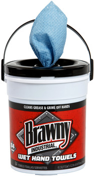 "Brawny Industrial® Wet Hand Towel.  8.6"" x 12.2"".  Blue Color.  84 Wipes/Bucket."