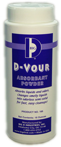 Picture of item 966-188 a Big D Industries D-Vour Absorbent Powder.  16 oz. Canister.