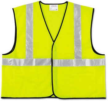 Picture of item CRW-VCL2SLXL a MCR™ Safety Luminator™ Class 2 Safety Vest, Fluorescent Lime w/Silver Stripe, Polyester, XL