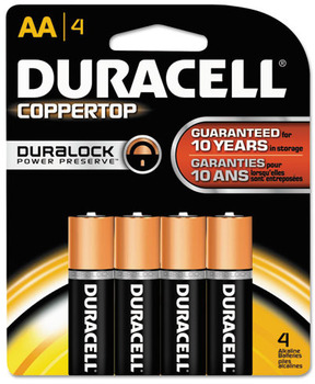 Picture of item 968-833 a Duracell® CopperTop® Alkaline Batteries with Duralock Power Preserve™ Technology, AA, 8/Pack