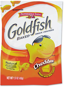 Picture of item PPF-13539 a Pepperidge Farm® Goldfish® Crackers, Cheddar, Single-Serve Snack, 1.5oz Bag, 72/Carton