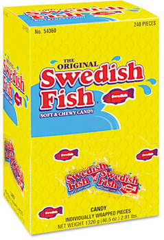 Picture of item CDB-43146 a Swedish Fish® Soft and Chewy CandySnacks In Reception Box, 240-Pieces/Box