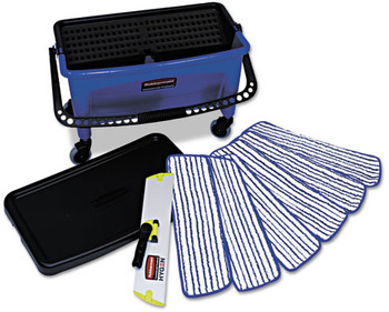 Picture of item RCP-Q050 a Rubbermaid® Commercial Microfiber Floor Finishing System, 27gal, Blue/Black/White