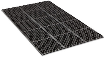 Picture of item CWN-WSTF35BLA a Crown Safewalk™ Heavy-Duty Anti-Fatigue Drainage Mat, Grease-Proof, 36 x 60, Black
