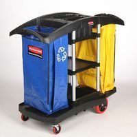 Picture of item RCP-9T7900BLA a Double Capacity Cleaning Cart. Black Color.