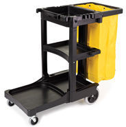 Picture of item 982-298 a Rubbermaid® Commercial Multi-Shelf Cleaning Cart, Three-Shelf, 20w x 45d x 38-1/4h, Black