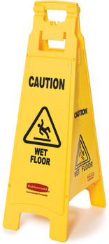 "Picture of item 966-523 a Rubbermaid Floor Sign with ""Caution Wet Floor"" Imprint, 4-Sided. 38"" L x 12"" W x 37"" H. 16"" Deep. Yellow. Foldable."