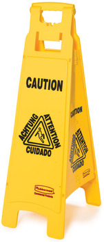 "Floor Sign with Multi-Lingual  ""Caution"" Imprint, 4-Sided. Yellow Color."