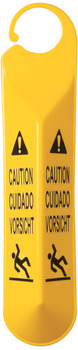"Hanging Safety Sign with Multi-Lingual ""Caution"" Imprint and Falling Person Symbol. Yellow Color."