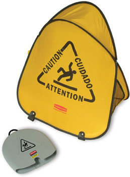 "Folding Safety Cone with ""Caution"" Imprint, English, Spanish, French. Yellow Color."