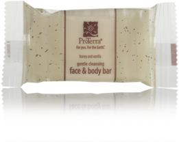 Picture of item 670-404 a ProTerra Green Collection.  Honey and Vanilla Face & Body Bar.  Flo-Wrapped.  0.72 oz.  288 Bars/Case.