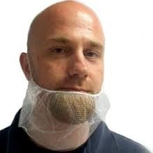 Picture of item 595-204 a Beard Cover.  Polyester Mesh Beard Net.  White Color. 100/pk  10pk/cs
