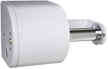 Picture of item 888-100 a Dual Bath Tissue Dispenser.  White Color.  Holds Two 1500 Sheet Rolls.  Dent Resistant, Hinged Lock Cover.
