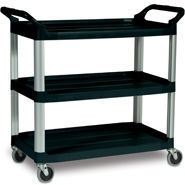 Picture of item 968-355 a Rubbermaid® Commercial Open Sided Utility Cart, Three-Shelf, 40-5/8w x 20d x 37-13/16h, Black